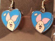 "Pink & Blue ""Winnie The Pooh"" Piglet Heart Earrings - Fashion Jewelry"