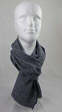 Schal Webschal Uni modisch blau weiß 100% Wolle (Merino)