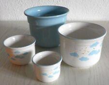 Konvolut Paket Set 4x Blumentopf Übertopf Pflanztopf Keramik*GERMANY*blau Motiv