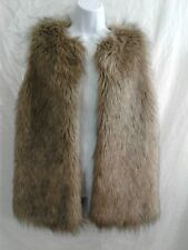 Merona Womens Open Front Faux Fur Mingled Brown Sleeveless Lined Vest Size XS/TP