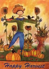 "Happy Harvest Scarecrow Garden Flag 12""X18""Fall Pumpkin Decorative Designer Flag"
