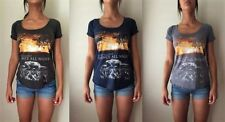 Graphic Tee Machine Washable Solid T-Shirts for Women