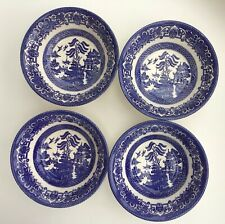 4 VINTAGE ENGLISH IRONSTONE BLUE & WHITE WILLOW PATTERN CEREAL BOWLS  16cm/ 6.5""