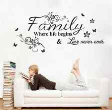 """Wall Sticker """"Family Where Life Begins"""" Quote Words Decal Vinyl Decor Mural"""