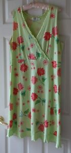 Fresh Produce Lime Green Surplice Dress with Falling Flowers - Size Large