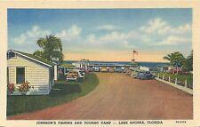 LAKE APOPKA FLORIDA JOHNSON'S FISHING & TOURIST CAMP CURTEICH POSTCARD VIEW