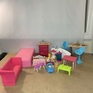2015 Barbie Dream House Replacement Furniture Fish Tank, Toilet, Tub, Sink, Bed