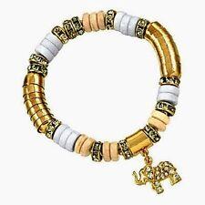 Elephant Stretch Lucky Charm Bracelet Goldtone & White-Clear Rhinestones