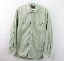Vintage 60s Wrangler Blue Bell Mens Large Pearl Snap Button Western Shirt Green