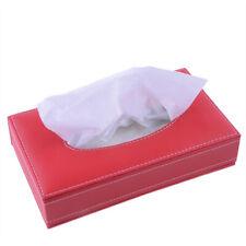 Red Lether Plastic Tissue Box Paper Holder Dispenser Organizer Home Room Car