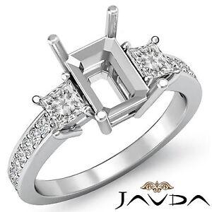 Diamond Engagement Fine 3 Stone Ring Princess Emerald Mount 14k White Gold 0.8Ct