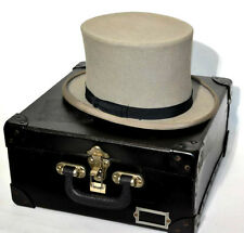 Vintage  EUGENE WATTS Men's Felt Top Hat in Carrying Case 7 1/4 [PL2979]