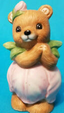 Homco Tulip Petal Flower Teddy Bear Girl Figurine 8768 Sri Lanka Pristine Cond