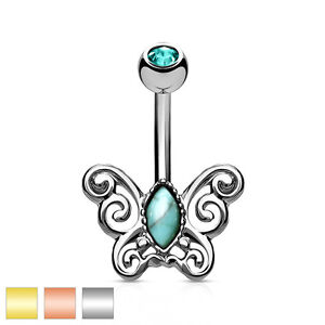 Surgical Steel Belly Bar / Navel Ring With CZ Centred Filigree Butterfly