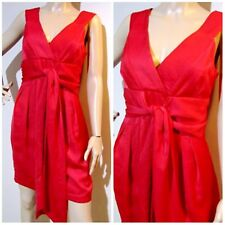 REVIEW size 12 fully lined vivid RED dress with adjustable tie & deep pockets
