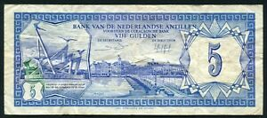 Netherlands Antilles 5 gulden 1984.06.01. View of Curacao & Monument P15b F