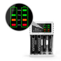 Intelligent Rechargeable LED Battery Charger With 4 Ports Black for AA or AAA