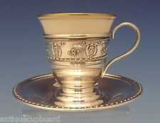 Rose Point by Wallace Sterling Silver Demitasse Cup with Saucer & Liner (#0600)