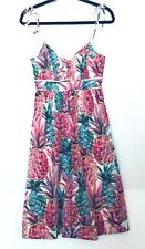 NWT J Crew Spaghetti-strap dress in Ratti painted pineapple Multi Size 00 G5138