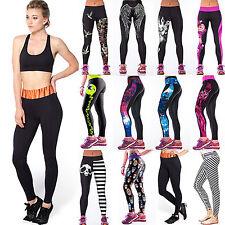 NUOVO Donna Yoga Fitness Leggings da Corsa Palestra Elastico Aderente Sport