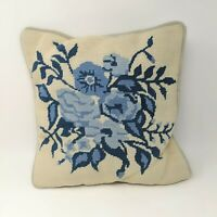 Vintage Handmade Blue Floral Needlepoint Throw Pillow Cream Velour
