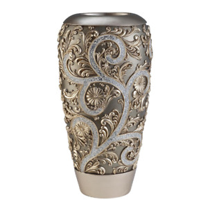 Judy Sha Silver Vine Gold Polyresin Decorative Vase - 18 Inches High