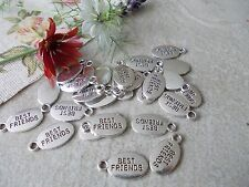 20 X 'BEST FRIENDS' OVAL SILVER COLOR TIBETAN METAL CHARMS/PENDANTS- best friend