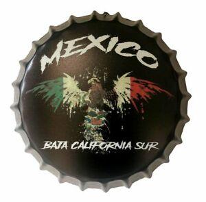 Baja California Sur Eagle Flag Bottle Cap Metal Tin Sign 13.8 Inches Diameter