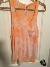 Billabong Arlington Racer Back Tank, Orange & White Tie Dye Size Medium