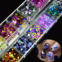 12 Grid Nail Glitter Sequin DIY Mixed Mirror Sugar Peacock Round DIY Flake Decor