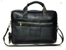 Womens Mens Real Leather Briefcase Messenger Shoulder Office Laptop Bag Black