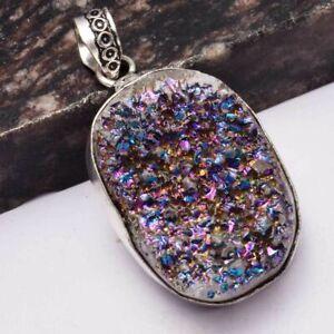 """Titanium Druzy Ethnic Handmade Pendant Jewelry 1.8"""" AP 4962"""