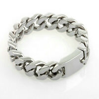 "Men's 316L Stainless Steel 8.5"" Curb Chain Link Bracelet Silver Polished 20mm"