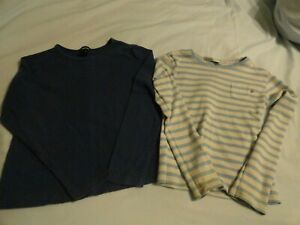 2 Girls Long Sleeve Tops Blue Striped & Gap Embroidered - SZ 7/8
