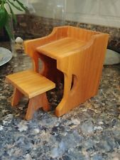 HITTY  Original Hand Carved Primitive Wooden desk and stool by Gene Foster