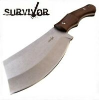 "SURVIVOR 10.6"" OVERALL FULL TANG CLEAVER W/ BROWN PAKKAWOOD HANDLE +NYLON SHEATH"