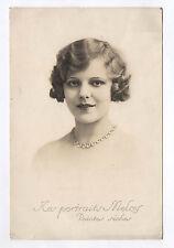 PHOTO ANCIENNE Femme Bijoux Collier Coiffure Vers 1920 MELEY Pointes sèches