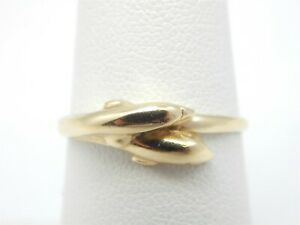 10K YELLOW GOLD DOLPHIN BAND RING SIZE 6.75