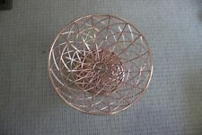 NWOB Rose Gold Metal Fruit Bowl Basket Tabletop Centerpiece Pedestal PERFECTION