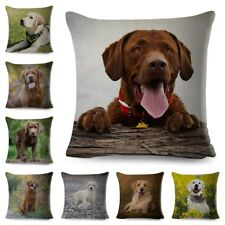 Cute Brown Labrador Dog Pillowcase Decor Pet Animal Printed Cushion Cover Sofa