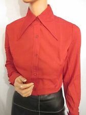 NEW OLD STOCK VINTAGE 1970 S PUGNALE Colletto Camicia A Maniche Lunghe Rosso MOD UK:12