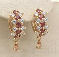 18K Yellow Gold Filled- Hollow Flower Cross Ruby Topaz Morganite Women Earrings