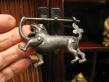 VINTAGE CHINESE BRONZE LOCK FOO-DOG STATUE WITH KEY IN GOOD WORKING CONDITION