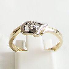 Ring Gold 375er 0,045 ct.Brillant Goldringe Diamant 9 kt. Bi-Color