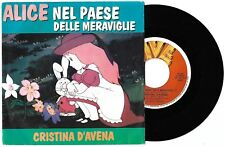 "7"" CRISTINA D'AVENA Alice nel Paese (Five 87) sigle tv cartoni retro verde VG+"