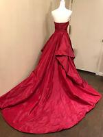 $ 8000 Oscar De La Renta Red Strapless Silk Ball Gown Dress Cocktail Puffy 6