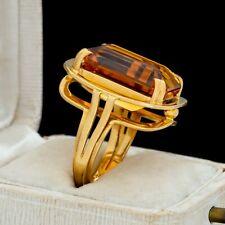 Antique Vintage Art Deco Retro 18k Yellow Gold German Madeira Citrine Ring S 5.5