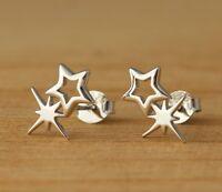 925 Sterling Silver 2-Stars Stud Earrings Plain Stylish Jewellery