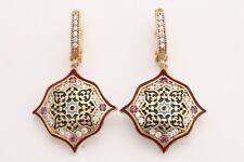 Motif Emerald Turkish Handmade Jewelry Hurrem Topaz 925 Sterling Silver Earrings