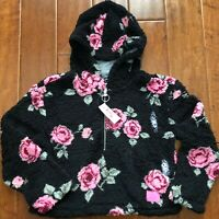 NWT JUSTICE GIRLS FLORAL SHERPA QUARTER ZIP HOODIE JACKET Size 12